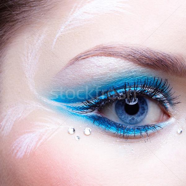 Nő szem smink kék fehér lány Stock fotó © zastavkin