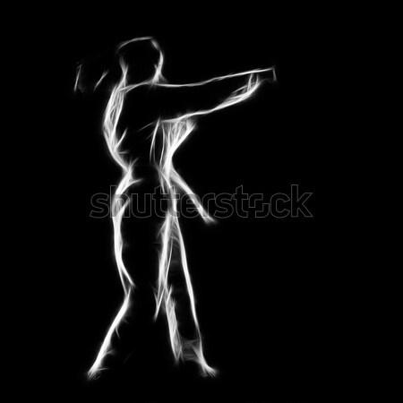 Silueta jóvenes atleta hombre negro Foto stock © zastavkin
