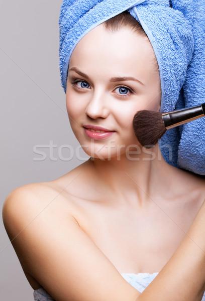 женщину синий ванны полотенце голову Сток-фото © zastavkin