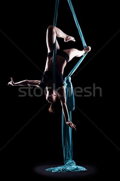 Ginnasta blu ginnastica nastro isolato Foto d'archivio © zastavkin