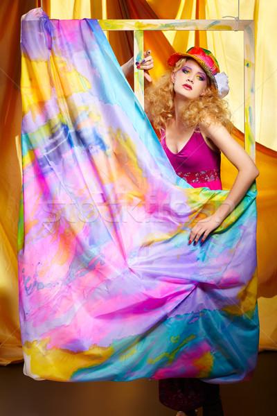 Stockfoto: Vrouw · kunstenaar · portret · mooie · blonde · vrouw · kleurrijk