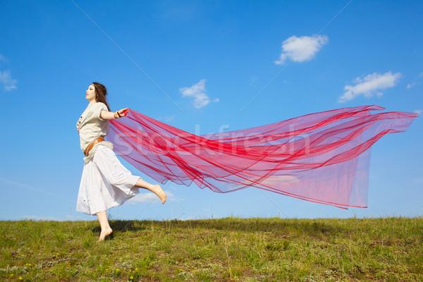 beautiful hippie girl with red fabric Stock photo © zastavkin