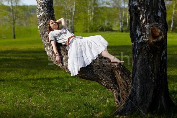 Belle hippie fille extérieur portrait bouleau Photo stock © zastavkin