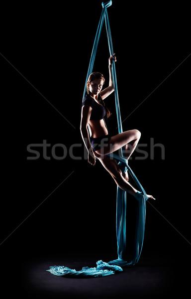 гимнаст синий лента изолированный Сток-фото © zastavkin