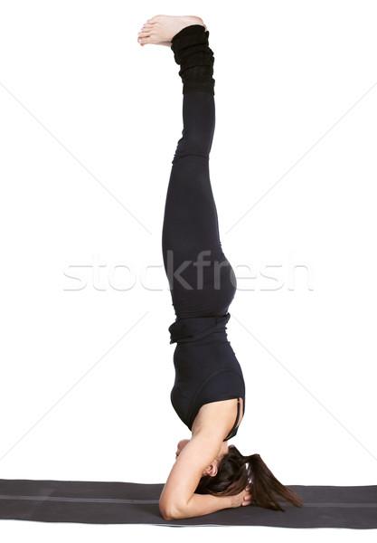 Yoga portrait belle femme exercice tête Photo stock © zastavkin