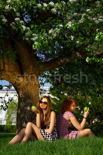 Kızlar elma bronzlaşmış açık havada oturma çim Stok fotoğraf © zastavkin