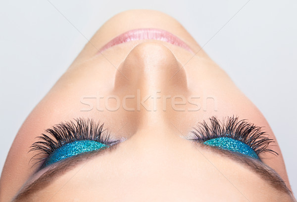 Maquillaje de ojos rostro de mujer azul brillante mujer ojo Foto stock © zastavkin