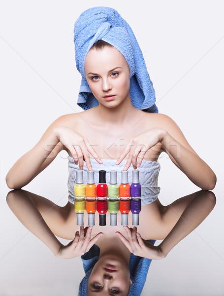 Kadın tırnak genç güzel spa Stok fotoğraf © zastavkin