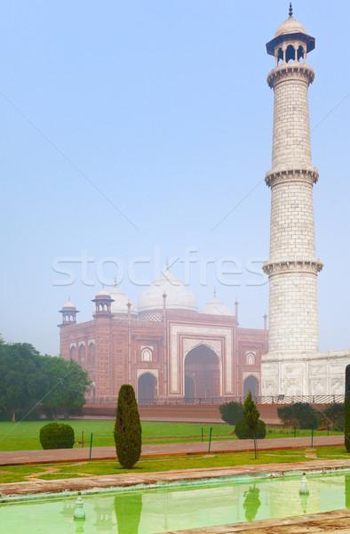 Taj Mahal architectural complex in morning mist Stock photo © zastavkin