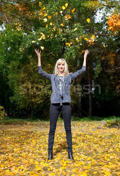 Stock fotó: Fiatal · nő · dob · levelek · levegő · ősz · park
