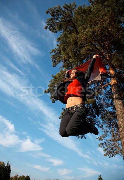 Hoogspringen springen meisje gezicht vrouwen gezondheid Stockfoto © zastavkin