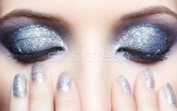 Stock photo: Shining woman eyes makeup