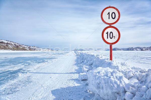 Traffic sign on Baikal ice Stock photo © zastavkin