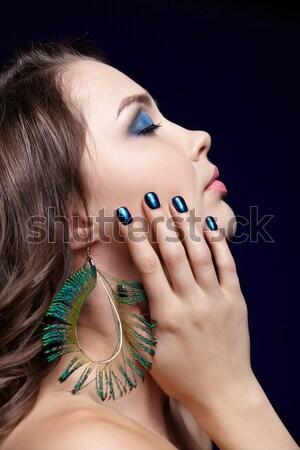 Femme bijouterie portrait belle jeune femme cheveux bouclés Photo stock © zastavkin