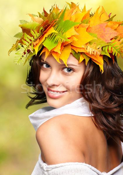 Stockfoto: Najaar · vrouw · kroon · vallen · esdoorn · bladeren