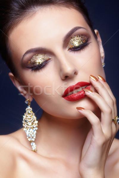 Stockfoto: Gezicht · make · mooie · jonge · vrouw · vrouw