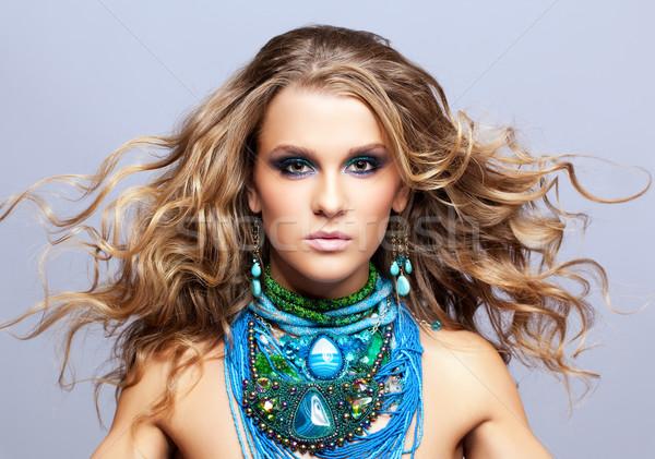 Kadın bijuteri portre güzel genç kadın saç Stok fotoğraf © zastavkin