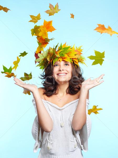 девушки лист осень портрет красивой молодые Сток-фото © zastavkin
