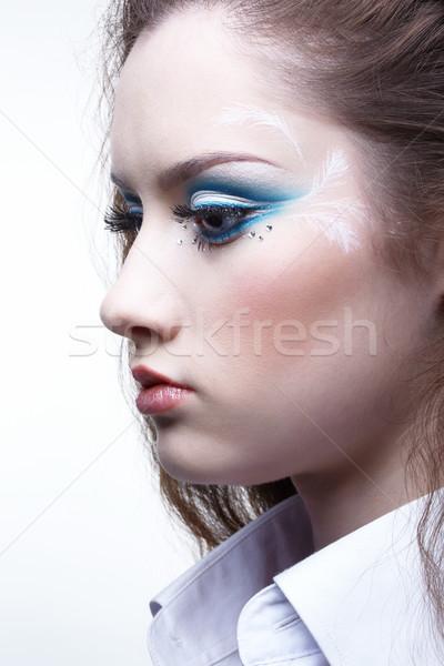 Stock fotó: Gyönyörű · lány · portré · fiatal · gyönyörű · nő · fehér · póló