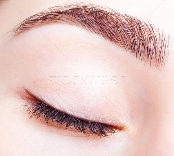 Stockfoto: Vrouwelijke · gesloten · oog · dag · make