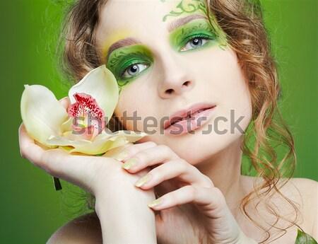 Dziewczyna Tygrys lilia portret piękna brunetka Zdjęcia stock © zastavkin