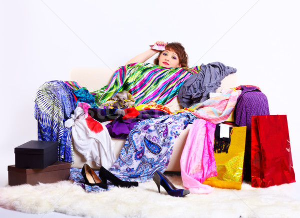 shopaholic woman Stock photo © zastavkin