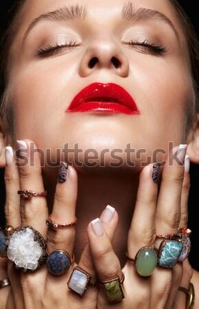 Nő egészséges bőr közelkép testrész portré Stock fotó © zastavkin