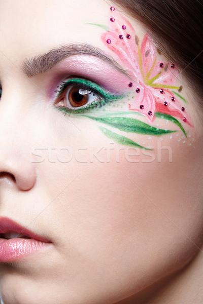 Dziewczyna body art portret piękna brunetka Zdjęcia stock © zastavkin