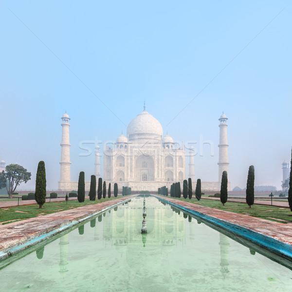 Taj Mahal Inde pâle matin brouillard texte Photo stock © zastavkin