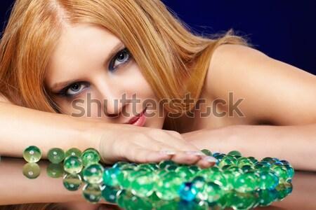Сток-фото: женщину · бижутерия · портрет · красивой · вьющиеся · волосы