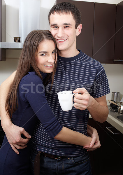 утра кофе питьевой кухне человека Сток-фото © zastavkin