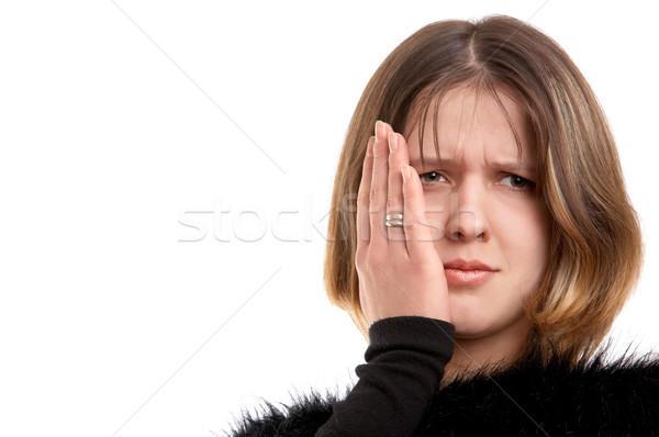 Fogfájás fiatal nő nő portré fekete személy Stock fotó © zastavkin