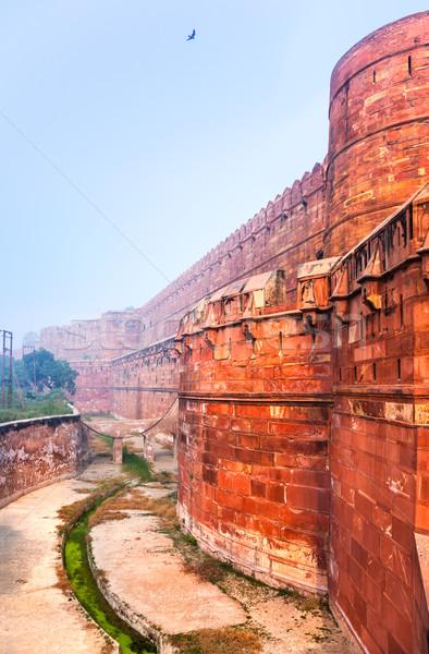 Red Ford in morning mist, Agra, India Stock photo © zastavkin