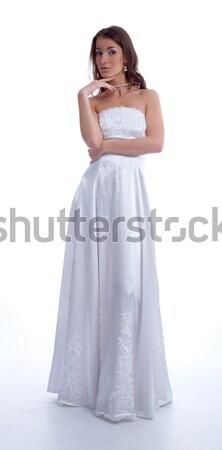 Gyönyörű menyasszony fiatal nő esküvői ruha fehér külső Stock fotó © zastavkin