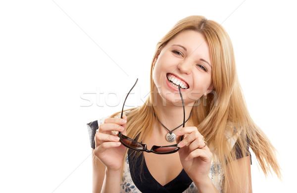 Femme soleil verres joli femme blonde blanche Photo stock © zastavkin