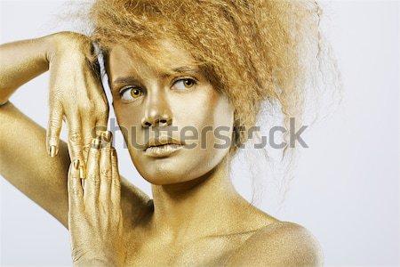 Ezüst lány portré test festett pózol Stock fotó © zastavkin
