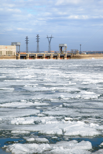 Ice drift and hydropower station Stock photo © zastavkin