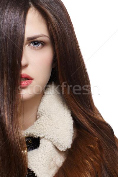 Vrouw lang bruin mooie vrouw rechtdoor bruin haar Stockfoto © zastavkin