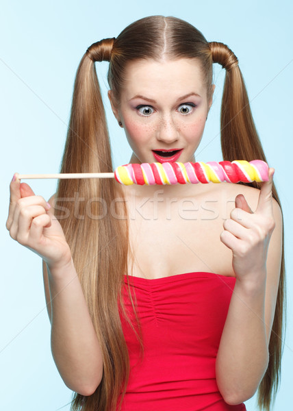 Lutscher schönen verspielt jungen Sommersprossen Stock foto © zastavkin