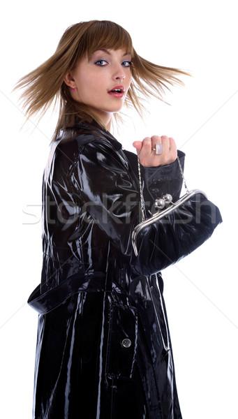 model in black coat Stock photo © zastavkin