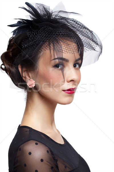 Young woman in vintage dress Stock photo © zastavkin