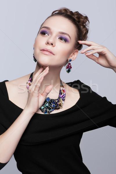 若い女性 宝石類 グレー 黒のドレス 手 顔 ストックフォト © zastavkin