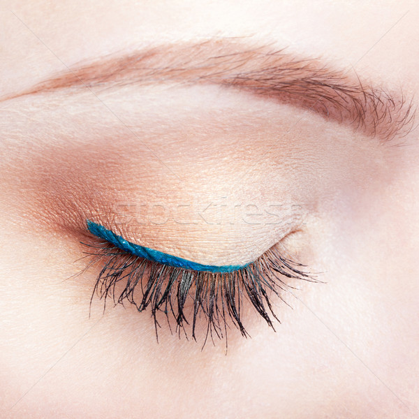 Stock photo: Female eye zone and brows with day makeup