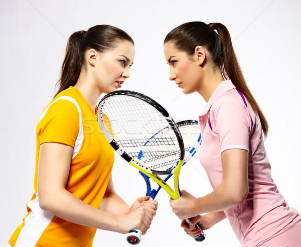 Tenis portre iki kızlar oyuncular Stok fotoğraf © zastavkin