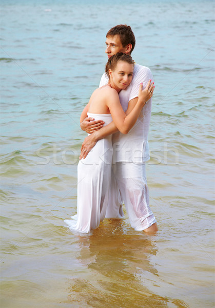 romantic couple at beach Stock photo © zastavkin