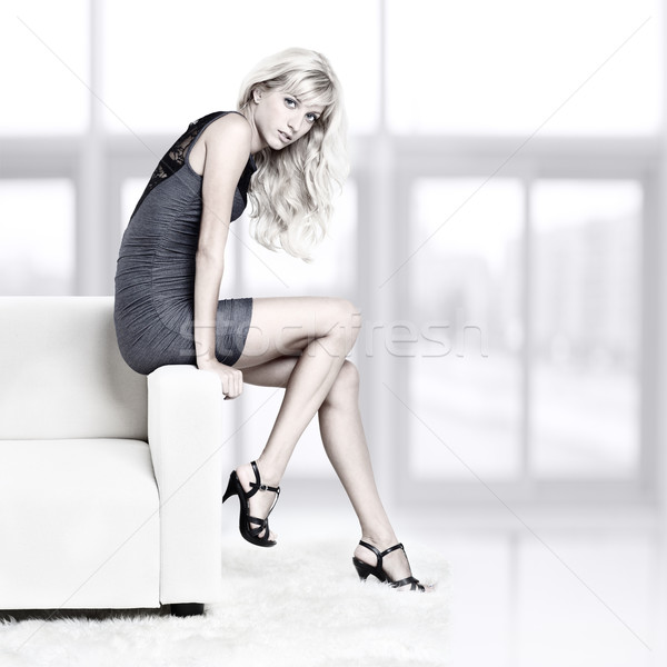 девушки диван портрет красивой молодые Сток-фото © zastavkin