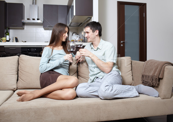 Boldog újonnan házaspár otthon kanapé nő Stock fotó © zastavkin