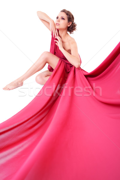 Seated beautiful woman in a red dress Stock photo © zastavkin