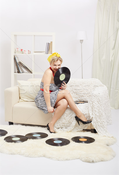 Blonde vrouw portret mooie jonge blond Stockfoto © zastavkin