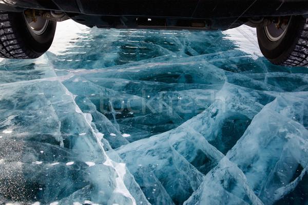 Auto ijs rally meer winter Blauw Stockfoto © zastavkin